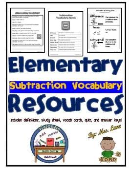 Elementary Subtraction Vocabulary Resources
