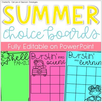 Elementary Summer Fun Choice Boards & Activities