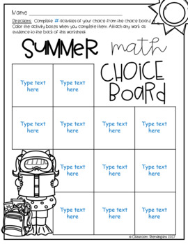 Student Choice Boards: Summer Edition {EDITABLE}