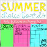Elementary Summer Fun Choice Boards & Activities