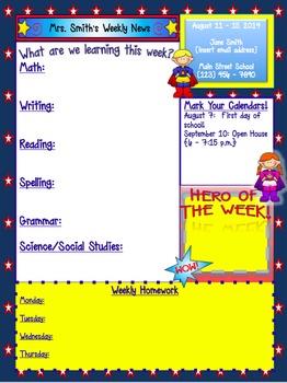 Elementary Superhero Weekly News Template