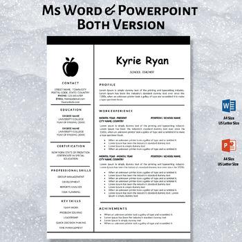 Elementary Teacher Resume Template, Teaching CV Template, Cover Letter Download