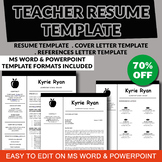 Teacher Resume Template, Teaching Resume PowerPoint and Word, Elementary Resume