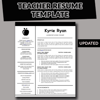 Teacher Resume Template Teaching Resume Powerpoint And Word Elementary Resume