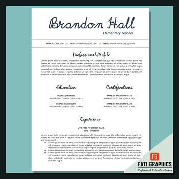 elementary teacher resume template for docx cv template in ms word