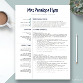 """Elementary Teacher Resume Template for Word & Pages: """"The Penelope"""""""