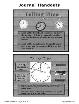 Elementary Telling Time Journal Handouts