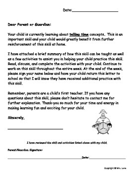 Elementary Telling Time Parent Handouts (Help At Home)