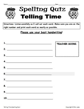 Elementary Telling Time Spelling Resources