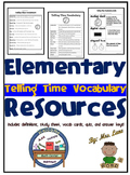 Elementary Telling Time Vocabulary Resources