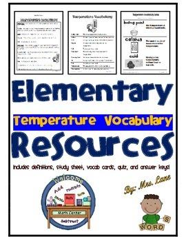Elementary Temperature Vocabulary Resources