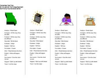 Elementary Test Prep Vocabulary Bookmarks