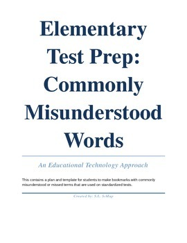 Elementary Test Prep Vocabulary Bookmarks