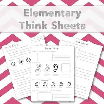 Elementary Think Sheets (ABA, Restorative Justice, and Simple Format)