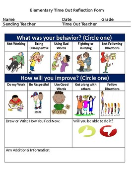Elementary Time Out/Reflection Form