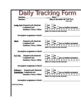 Elementary Tracking Form