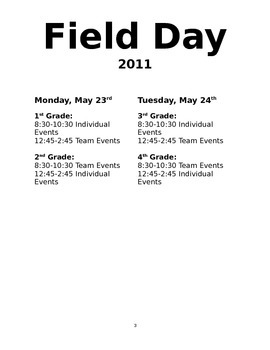 Elementary Two Day Field Day Plans