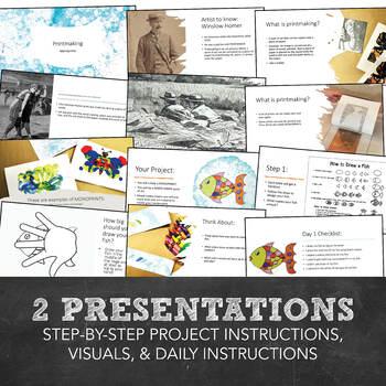 Elementary Visual Art Kindergarten Fish Monoprint Printmaking Project