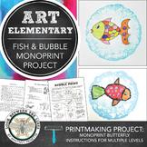 Elementary Visual Art Kindergarten Fish Monoprint Printmak