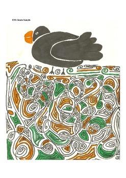 Elementary Visual Art Project - Black Bird on Line
