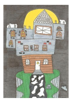 Elementary Visual Art Project - House on a Hill