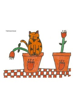 Elementary Visual Art Project - Kitty on a Flower Pot