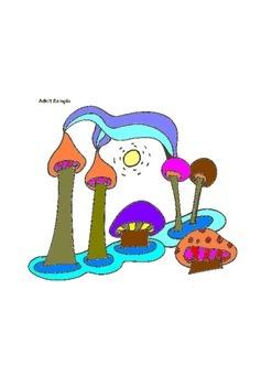 Elementary Visual Art Project - Mushrooms - Easy