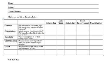 Visual Arts: End of Project Reflection Sheet (PDF) (Elementary)