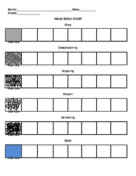 Visual Arts: Value Scale Study Exercise (DOC) (Elementary or Middle School)