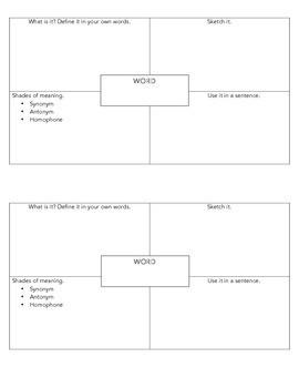 Elementary Vocabulary Intervention & Graphic Organizer