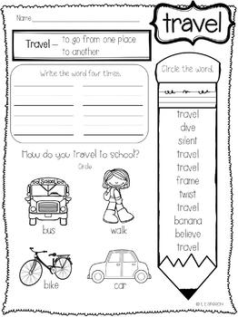 Elementary Vocabulary Sheets