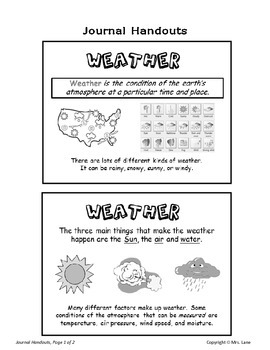 Elementary Weather Journal Handouts