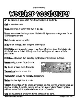 Elementary Weather Vocabulary Resources