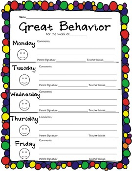 Elementary Weekly Behavior Chart