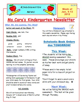elementary weekly newsletter template by kentucky cara tpt