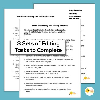 Elementary Word Processing & Editing Practice # 5--Weather Edition