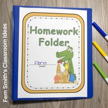 Student Binder Covers - Beach Gators Student Work Folder Cover