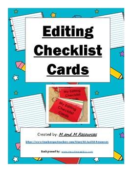Elementary Writing Editing Checklist Cards