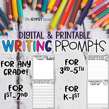Elementary Writing Prompts | Digital & Printable Writing | Distance Learning