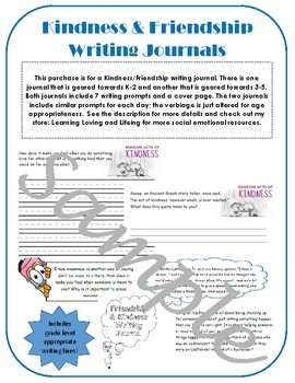 Elementary Writing Prompts Journal Kindness & Friendship; random acts upstander