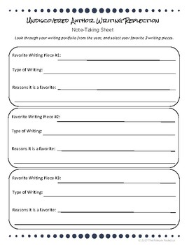 Elementary Writing Reflection - End of the Year Writing FREEBIE