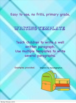 Elementary Writing Template for paragraph writing.
