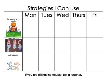 Elementary first grade reading strategies check list for a week!