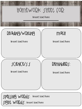 Elementary homework/communication sheets