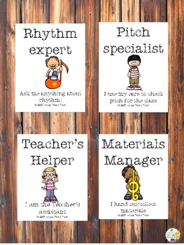 Elementary music class VIP jobs and brag tags #1