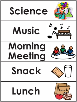 Elementary schedule or subject cards