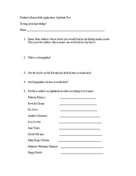 Elementary student library aide test for application