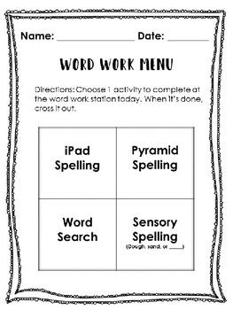 Elementary word work menu