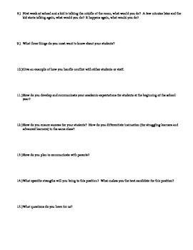 Elementary/Middle School Interview Questions