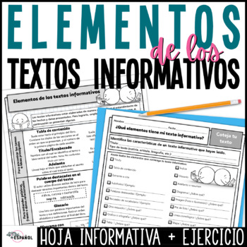 Elementos de los textos informativos Non-fiction Text Features Spanish Worksheet
